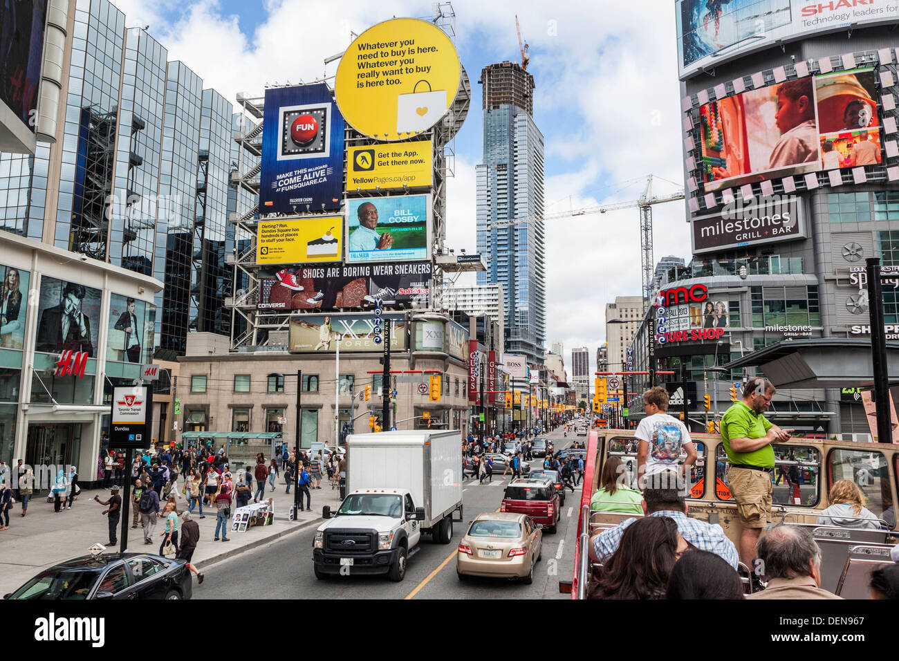 Colourful advertisements and billboards around Dundas Square (also known as YD Square and 'Toronto's Times - Stock Image