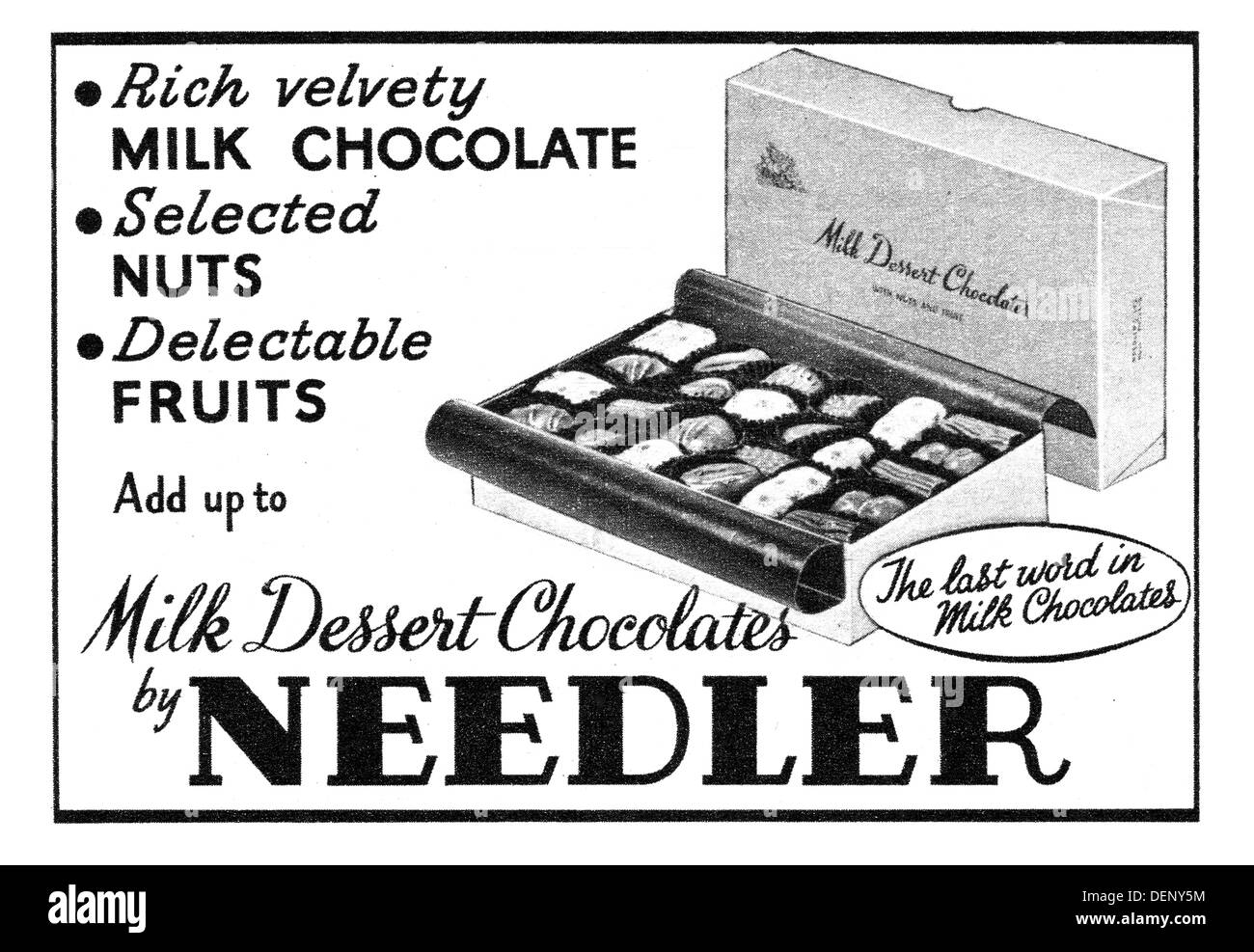 1955 advert for Needler chocolates - Stock Image