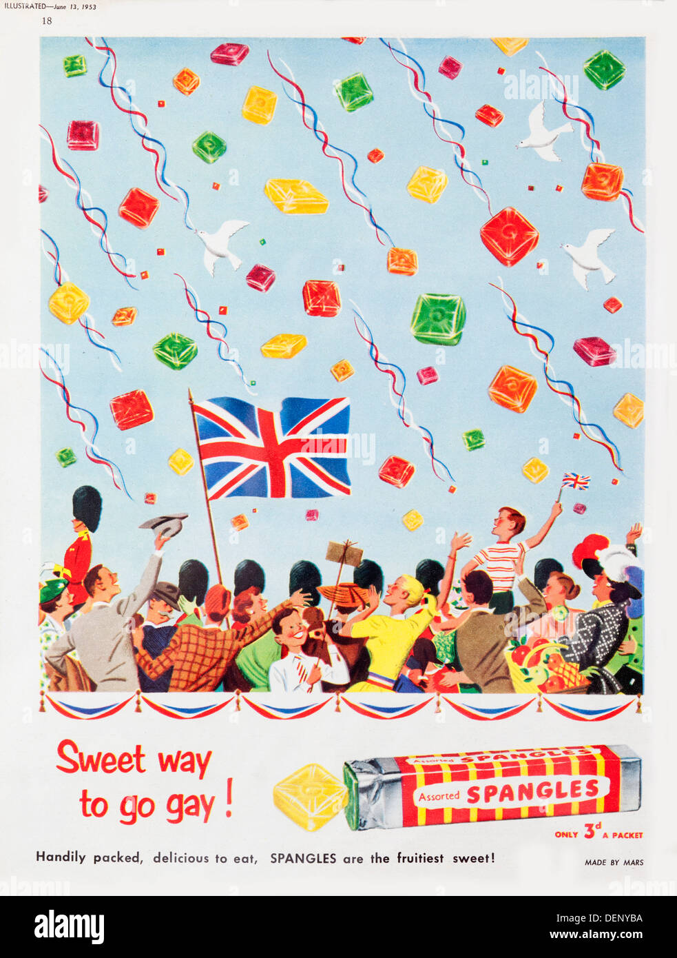 1953 advert for Spangles sweets - Stock Image