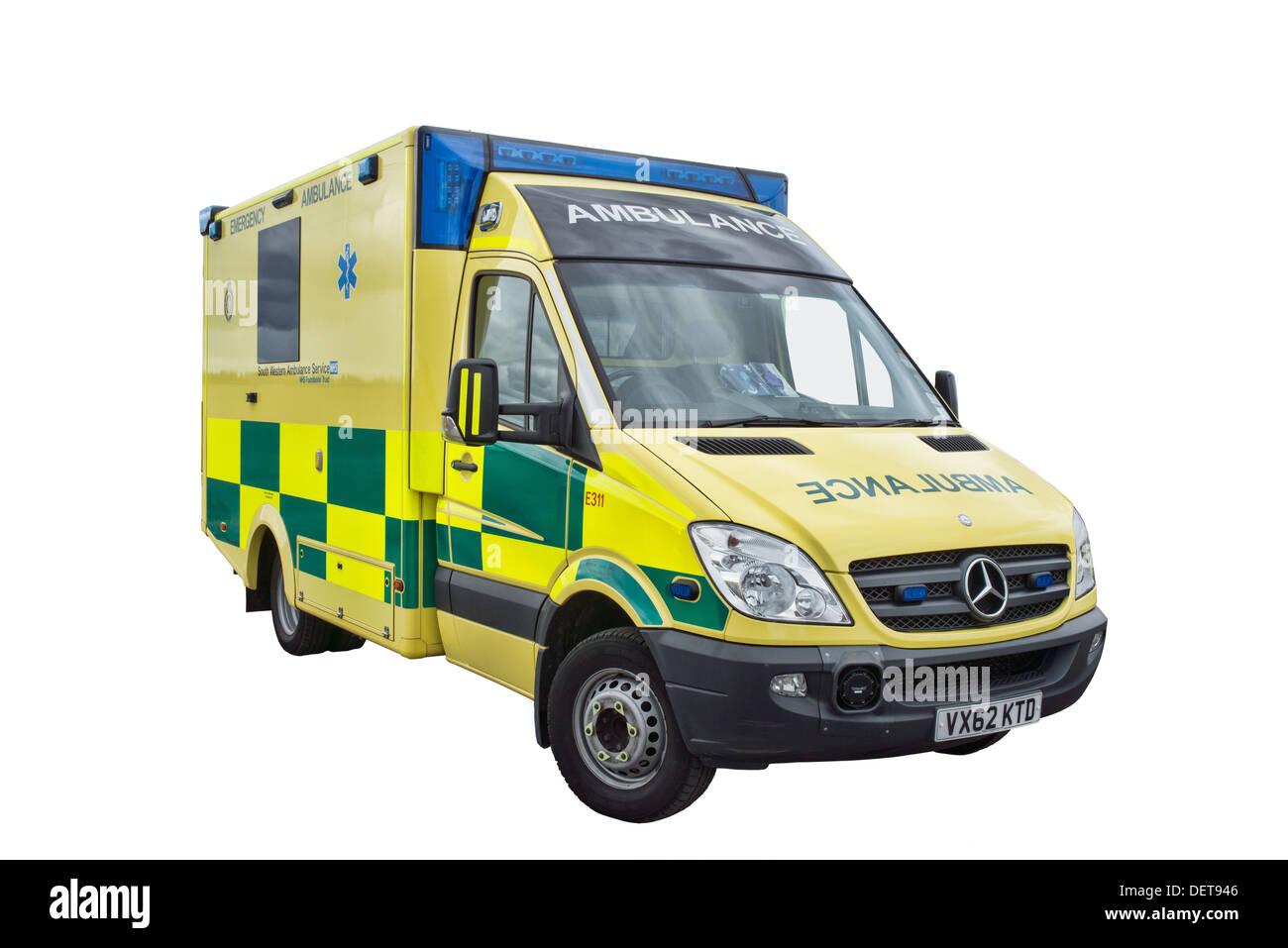 A cut out British NHS Mercedes Sprinter Ambulance - Stock Image