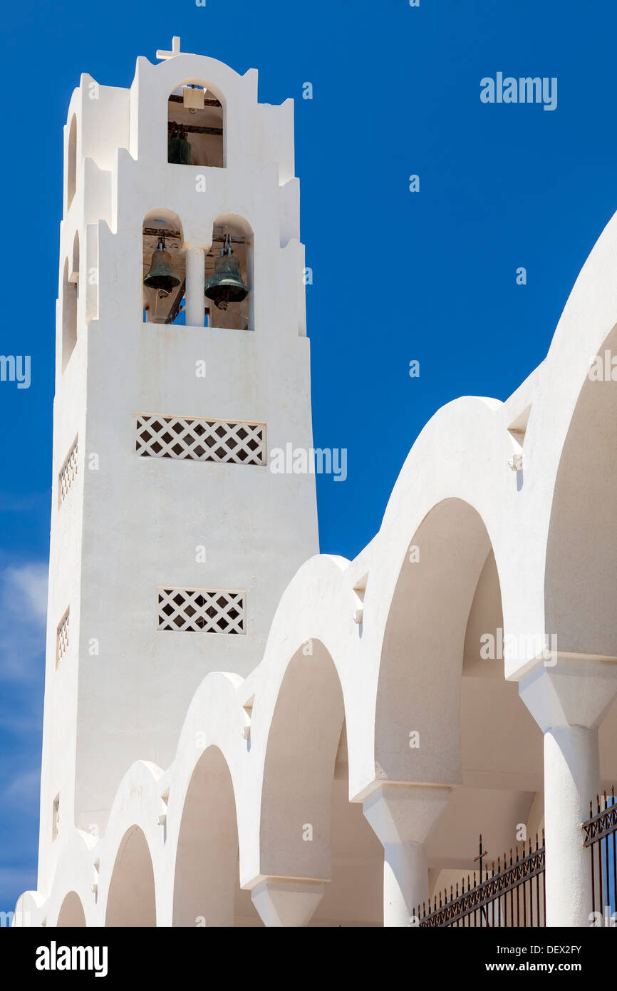 Bell tower on the Orthodox Metropolitan Cathedral Fira (Thira) Santorini Greece - Stock Image