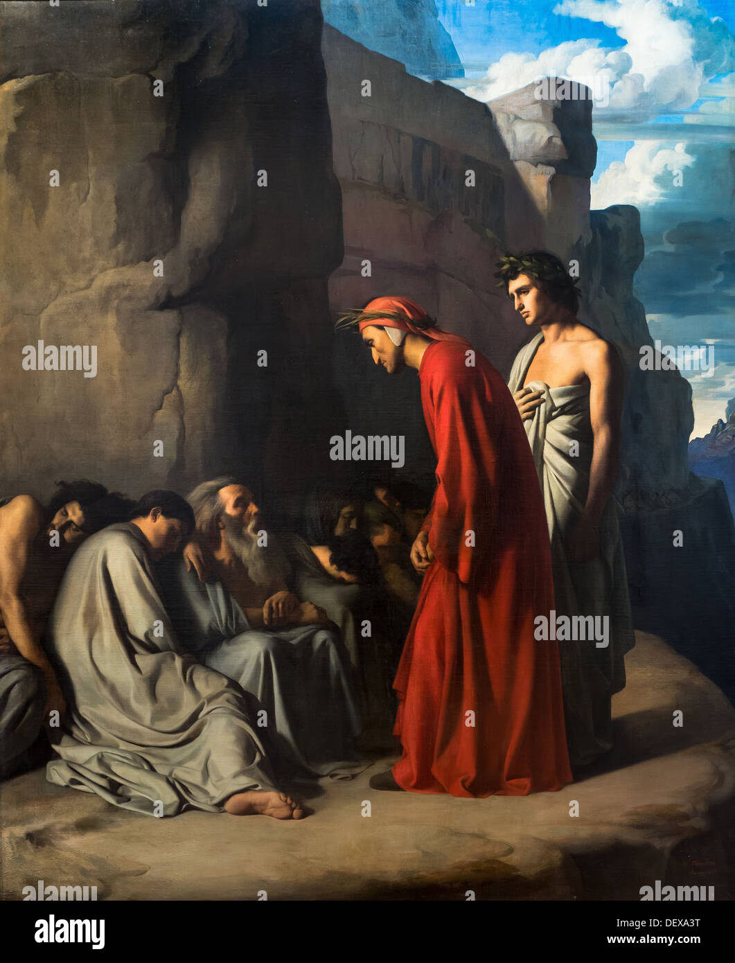 19th century  -  Dante, guided by Virgil, offers consolation to the souls of the envious, 1835 - Hippolyte Flandrin - Stock Image