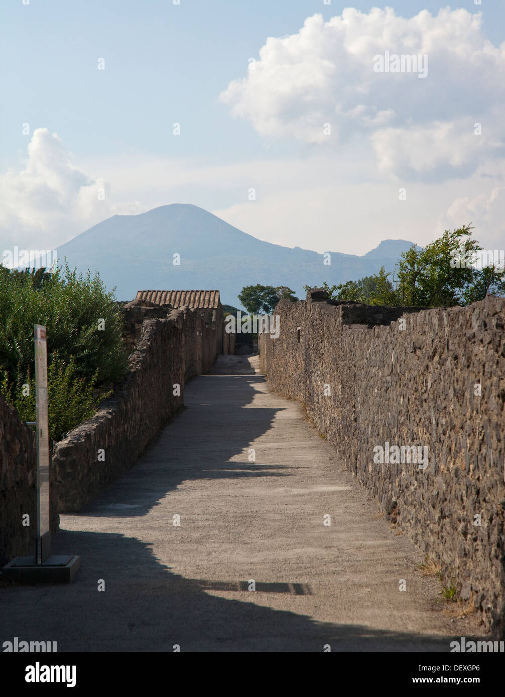 A view of Vesuvius from an analytically reflective point in Pompeii - Stock Image