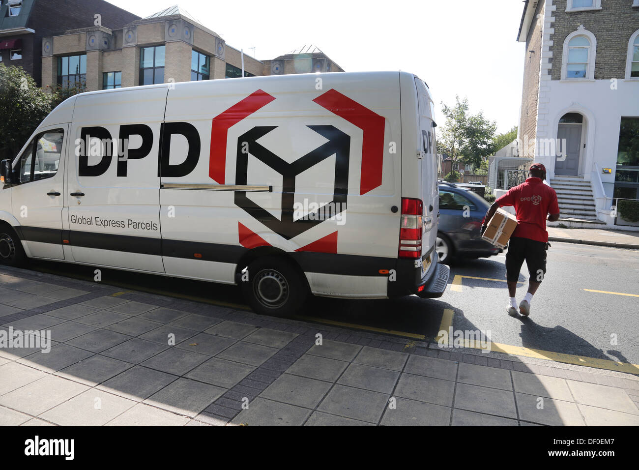 Wimbledon London England DPD Delivery Van And Man With Parcel Stock Photo