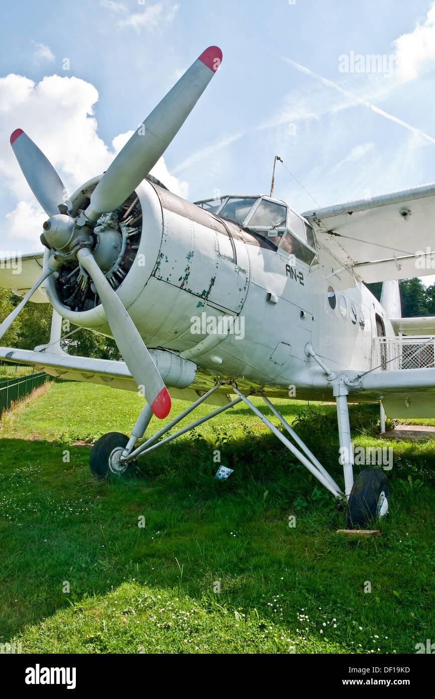 Polish-built Antonov An-2 biplane preserved at the Aviodrome Aviation Theme Park, Lelystadt, Netherlands - Stock Image