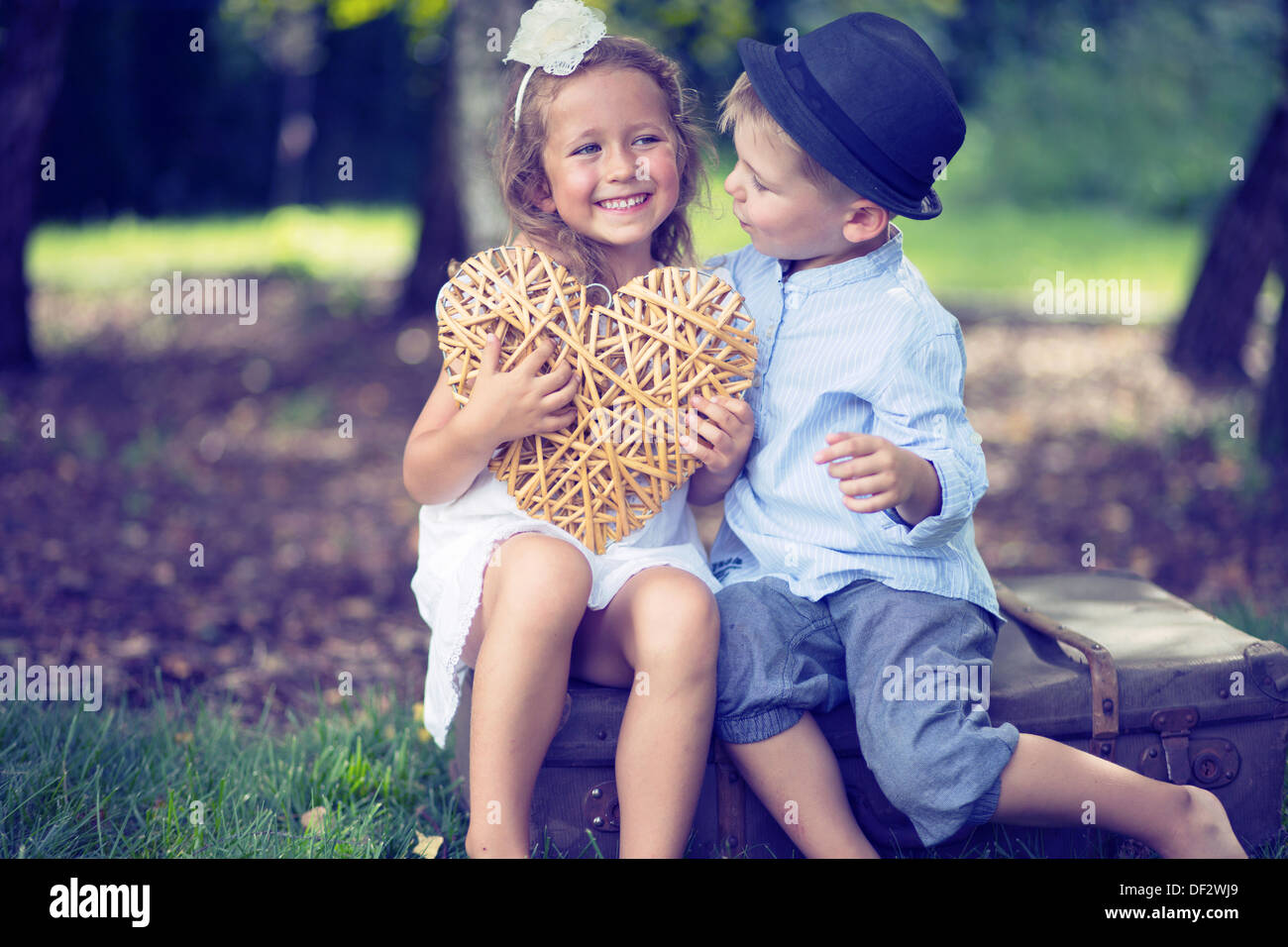 Portrait Of Cute Couple Of Small Kids Stock Photo 60914961 Alamy