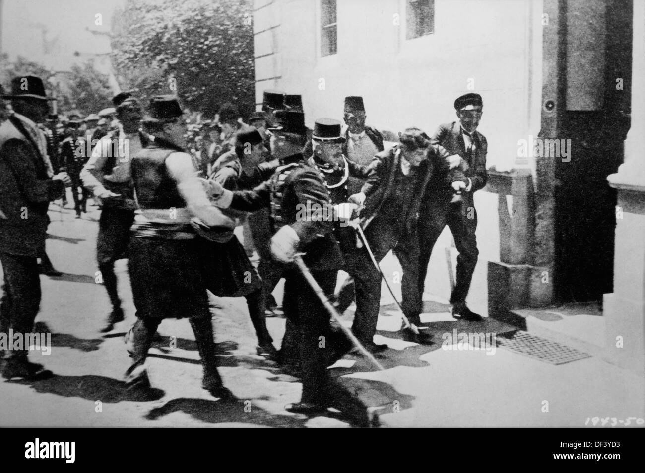 Arrest of First Bomb Thrower, Nedeljko Cabrinovic, in Assassination of Archduke Franz Ferdinand and Wife, Sarajevo, - Stock Image