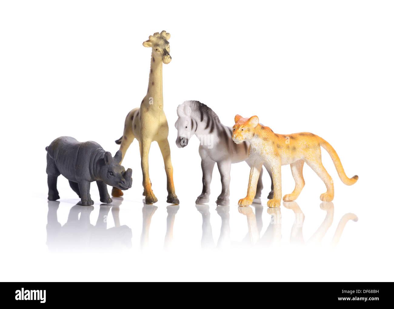 Plastic toy wild animals - Stock Image
