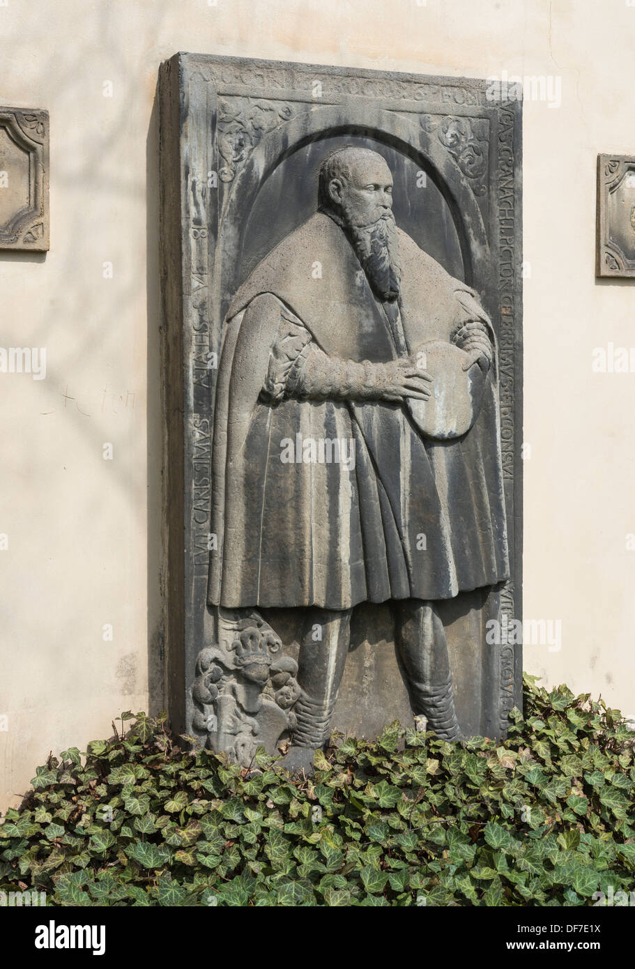 Lucas Cranach the Elder, grave slab with a relief of the painter, placed on the wall of the Church of St. James, - Stock Image