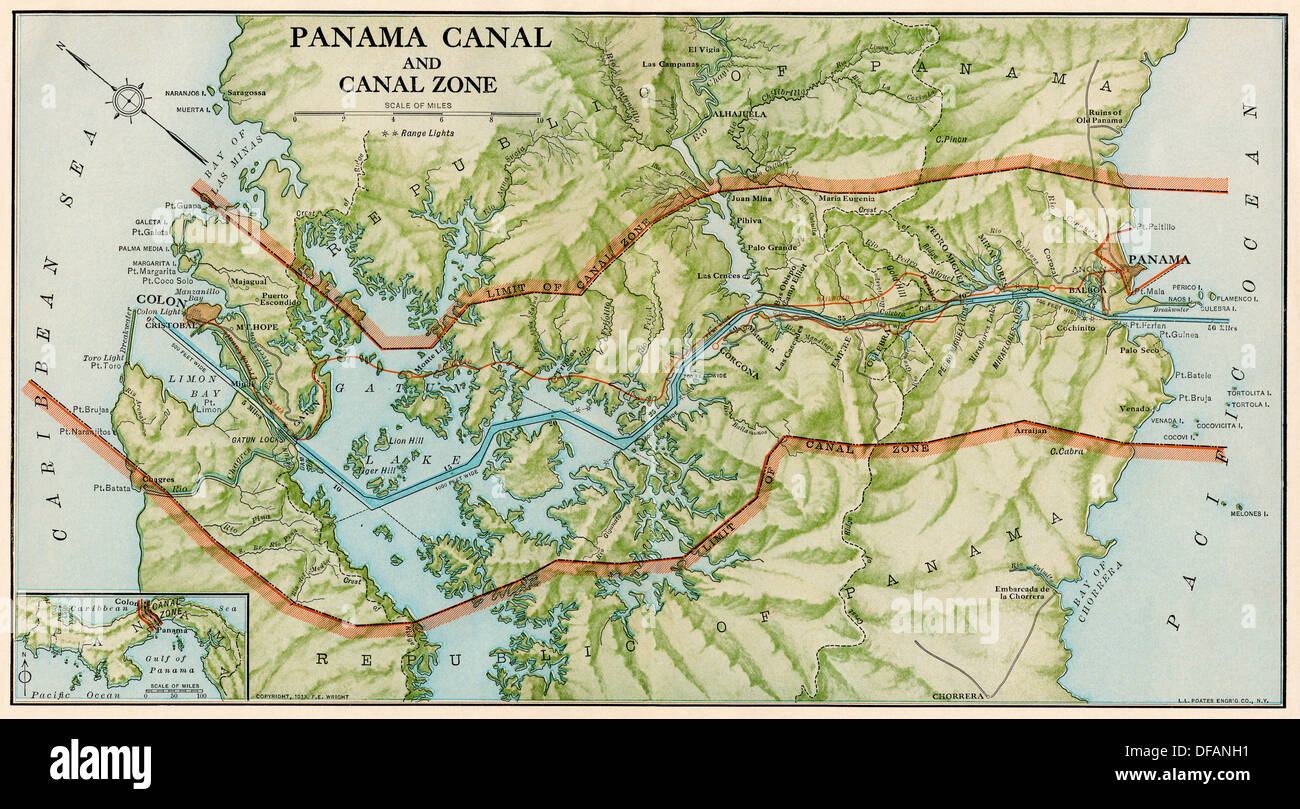 Panama Canal Zone map, 1913 - north diagonally left. Color Stock ...