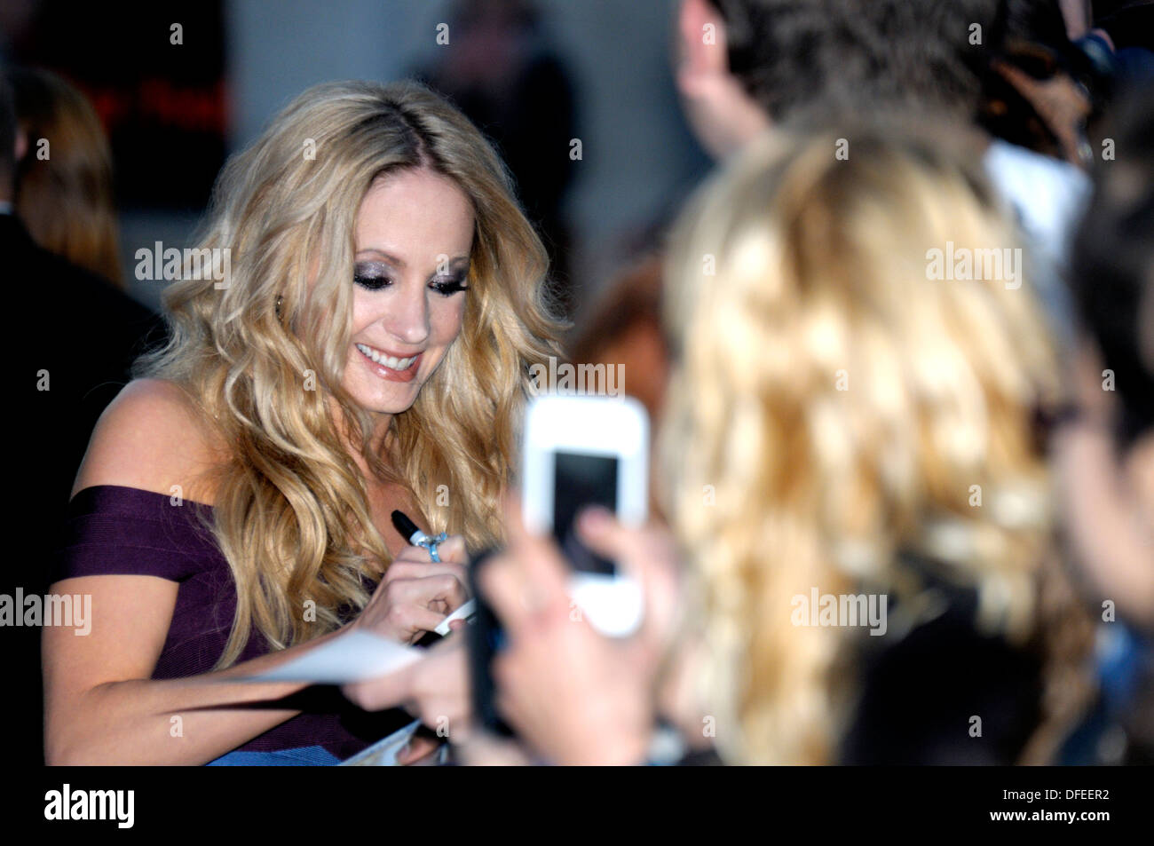 Joanne Froggatt signing autographs at the Film Premiere of 'Filth', London, 30th September 2013. - Stock Image