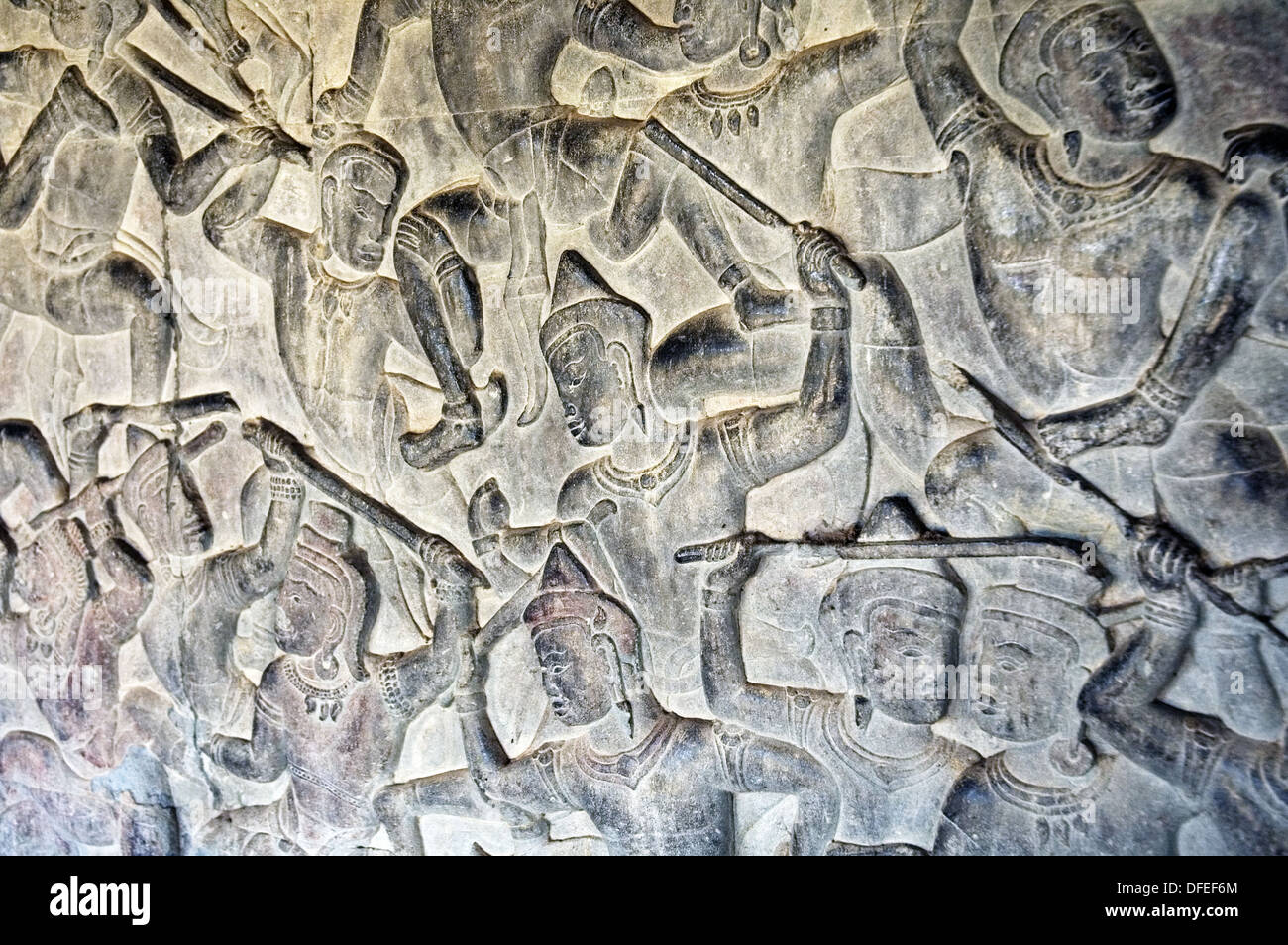 Bas-reliefs of Hindu myths. Angkor Wat. Siem Reap area. Kingdom of Cambodia. - Stock Image