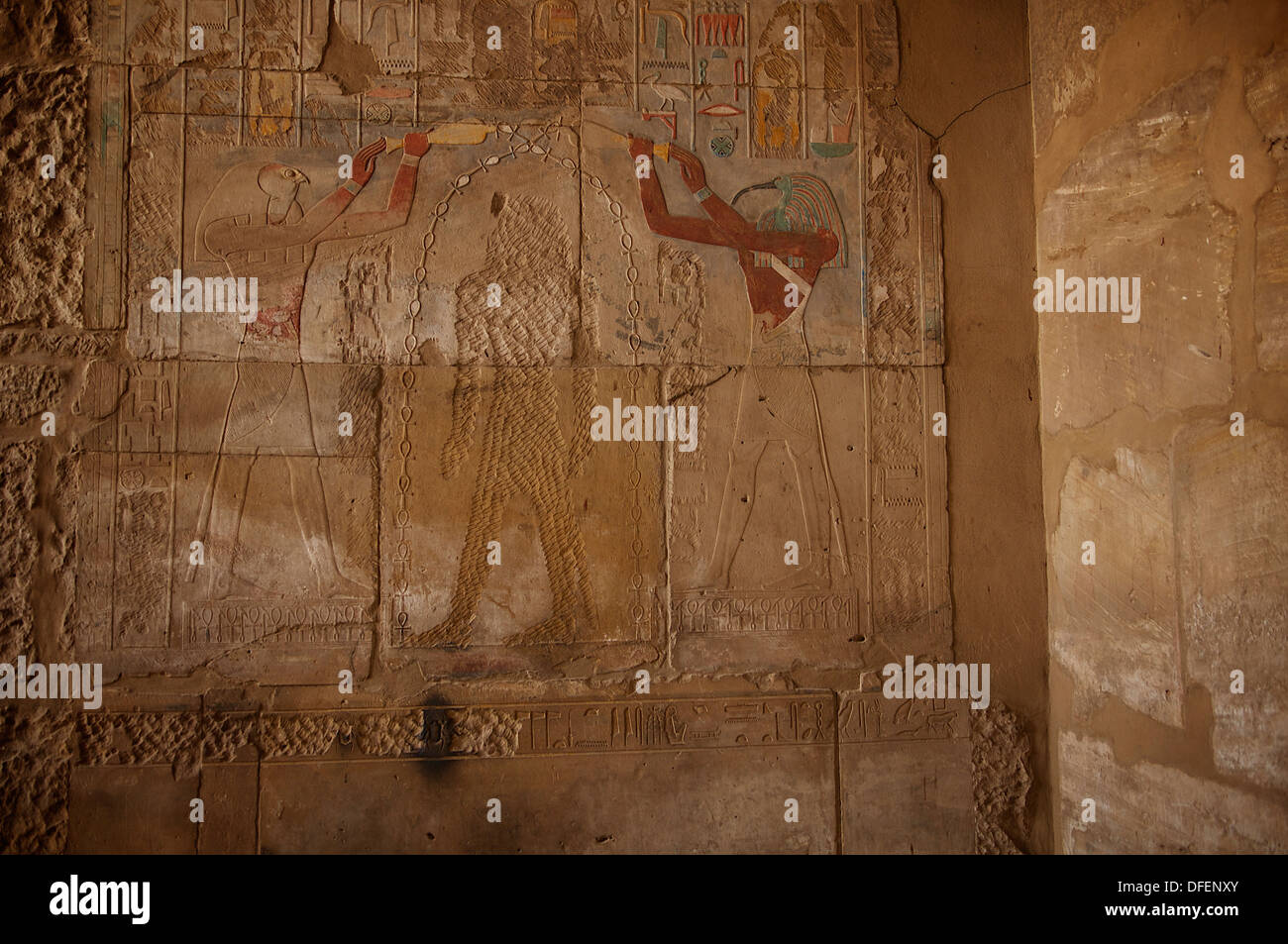 Desecration, in antiquity, of Hatshepsut's image by Thutmoses III; inside the red chapel of Hatshepsut at Karnak, Stock Photo