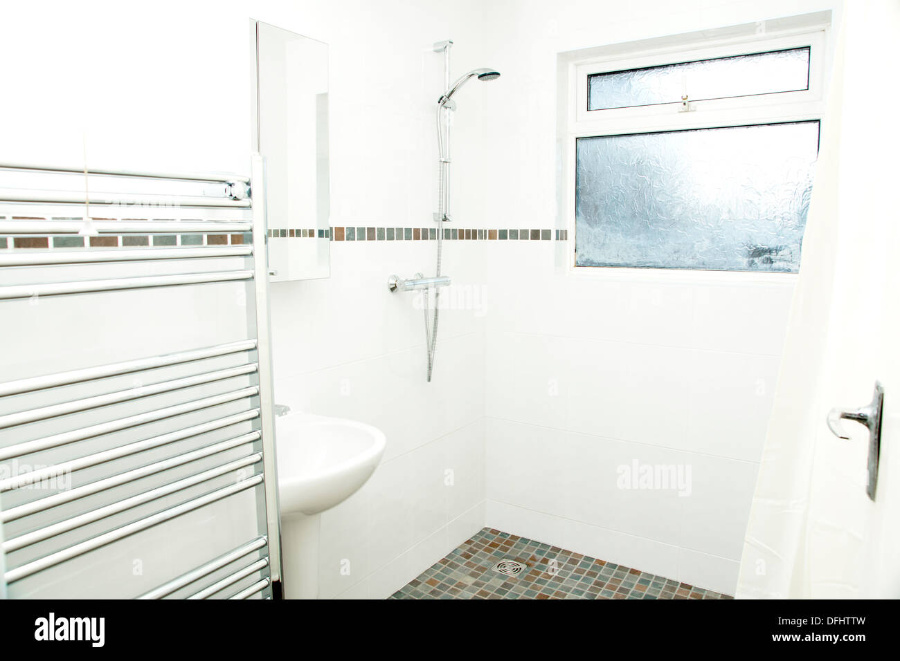 A specially adapted wet room shower / bathroom with non slip tiles ...
