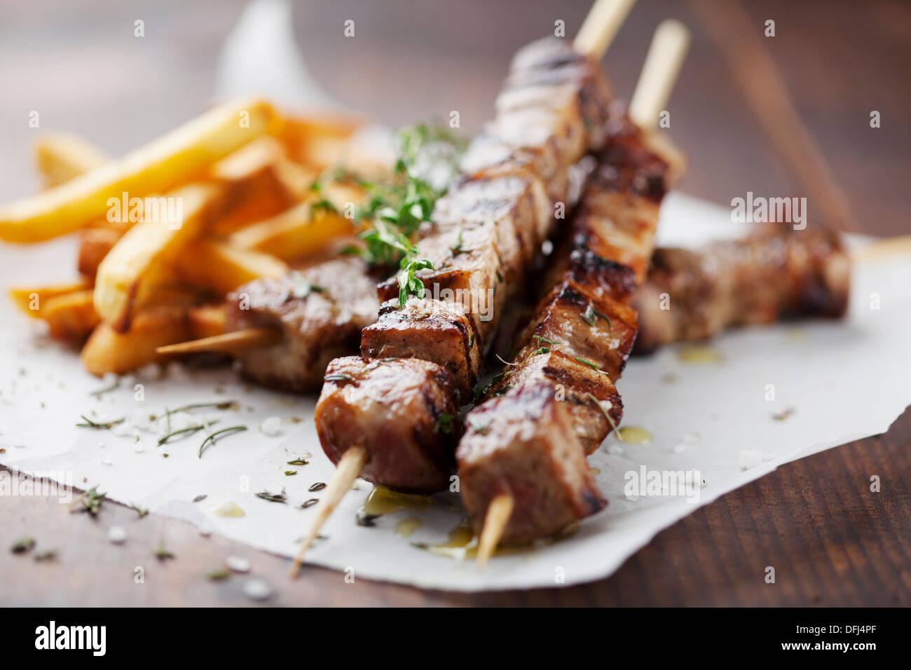 grilled meat, souvlaki - Stock Image