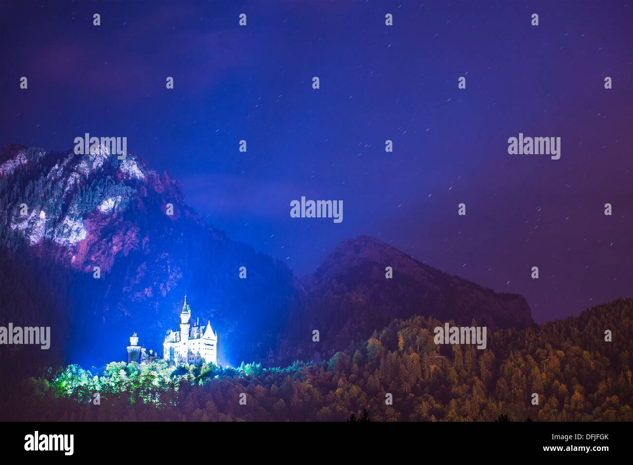 Neuschwanstein Castle at night in Fussen, Germany. - Stock Image