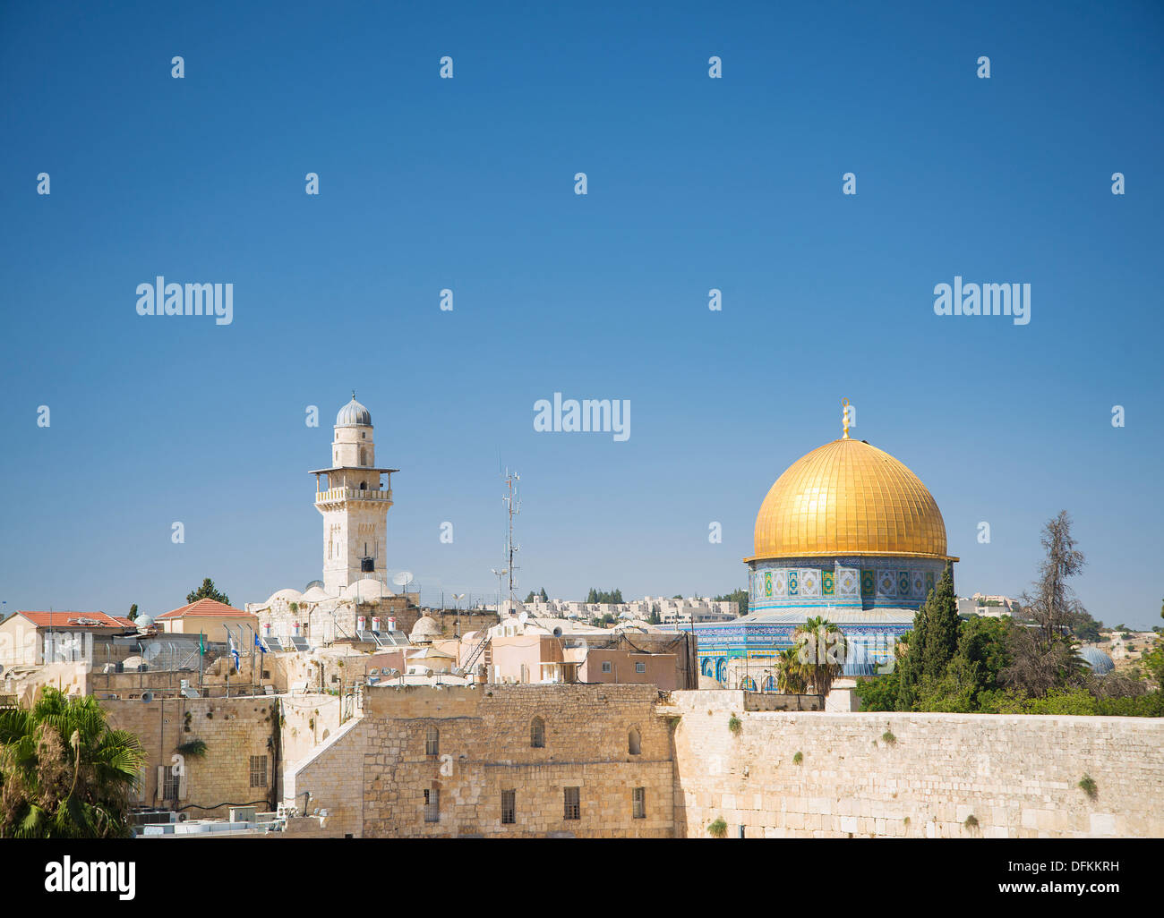 walled old town of jerusalem israel - Stock Image