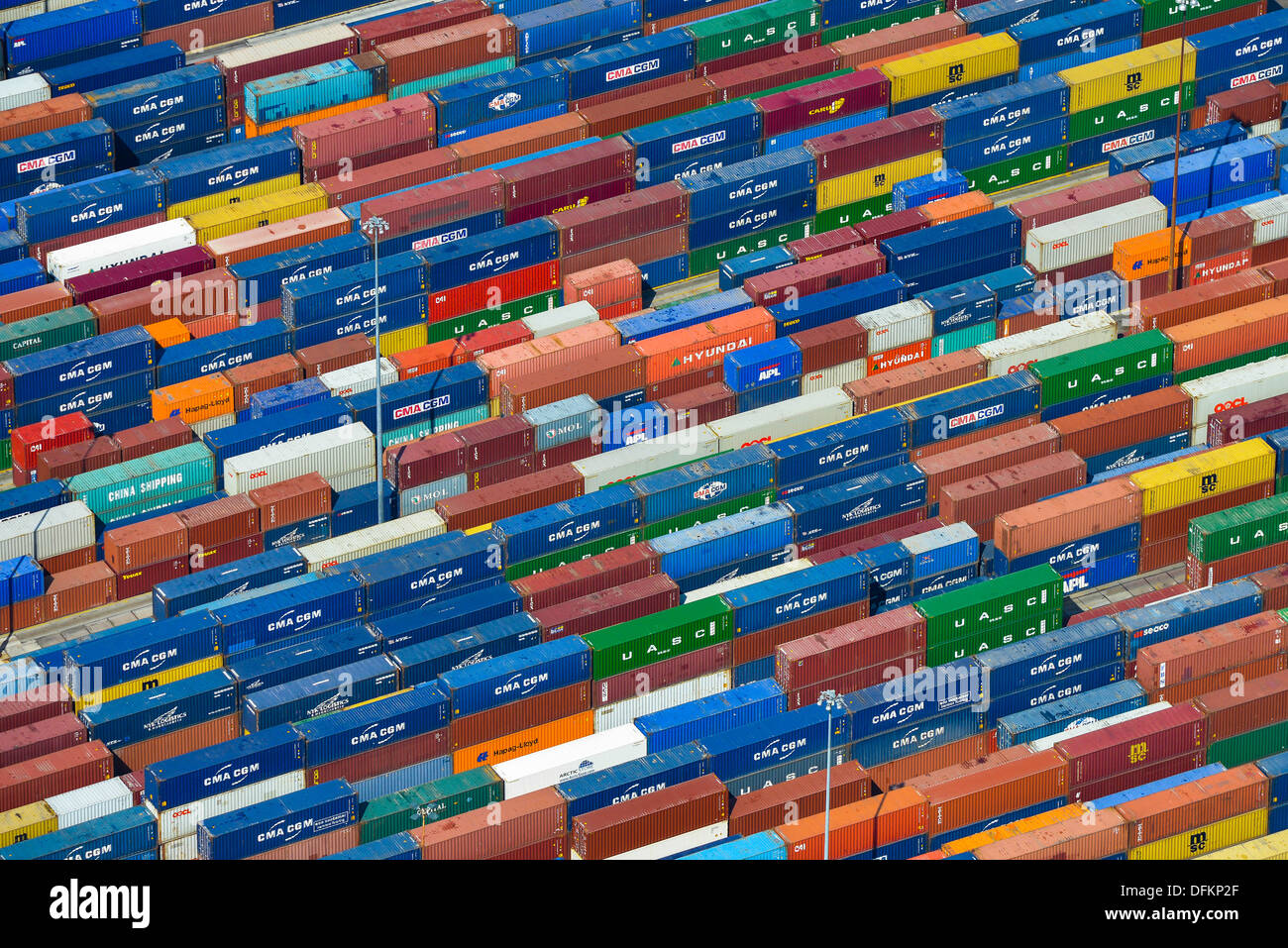 Aerial photograph of shipping containers at Southampton docks - Stock Image