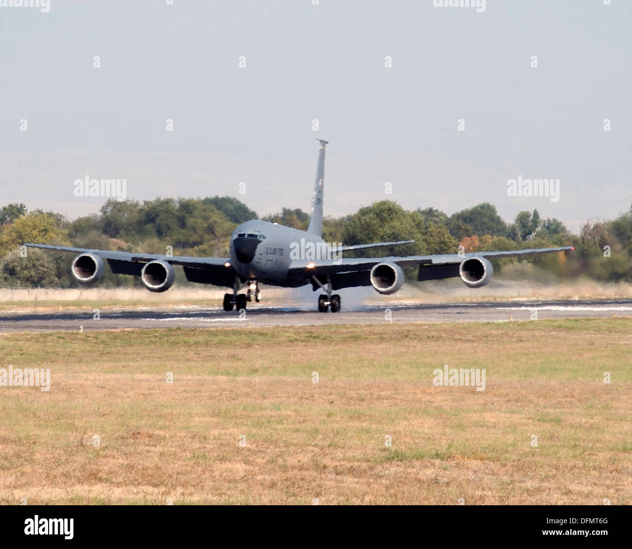 A KC-135 Stratotanker deployed to Transit Center at Manas, Kyrgyzstan, lands after enabling various missions to - Stock Image