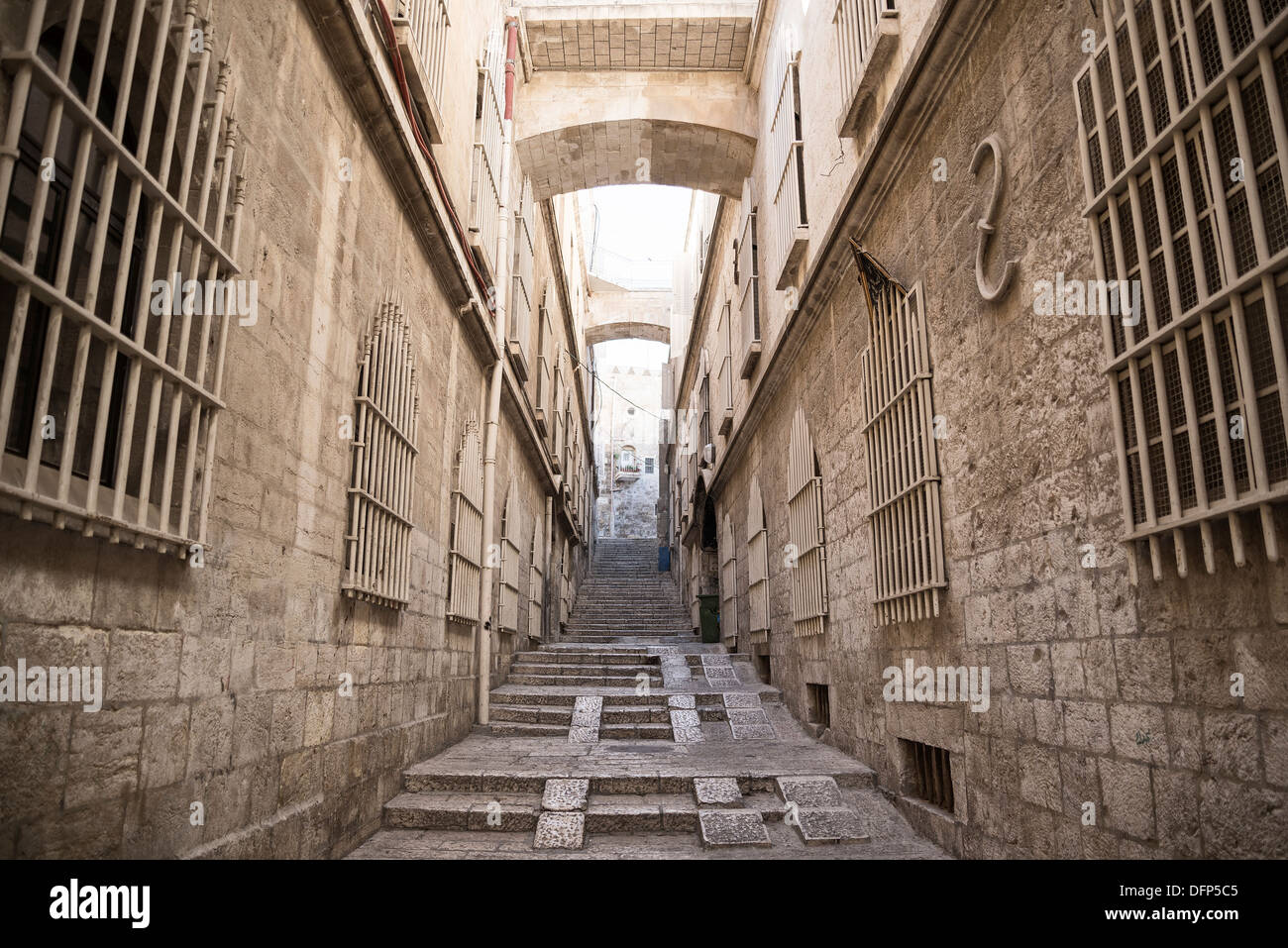 street in jerusalem old town in israel - Stock Image