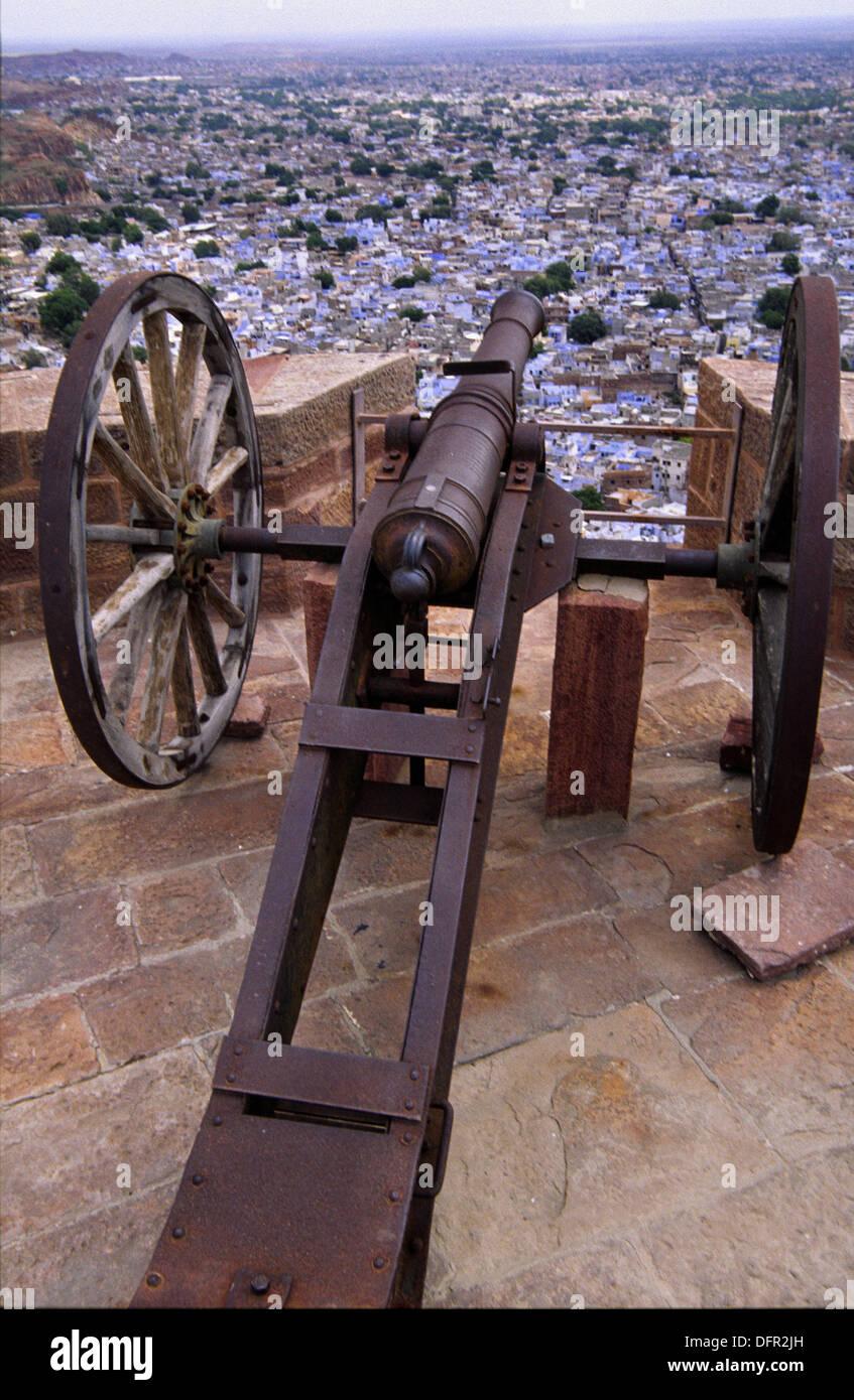 Old gun. Meherangarh fortress. Jodhpur. Rajasthan. India. - Stock Image