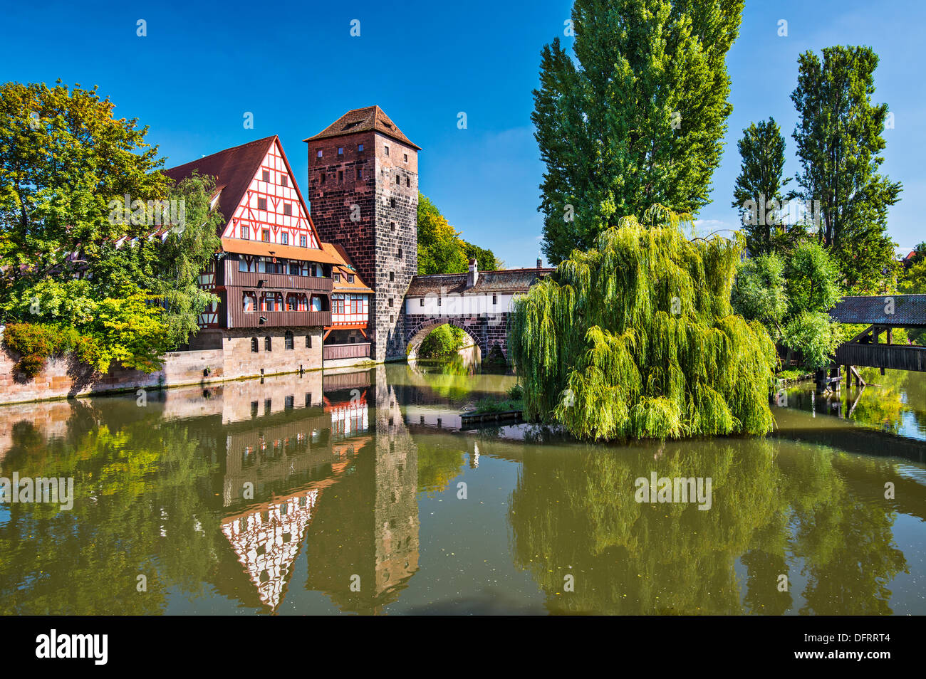 Executioner's bridge in Nuremberg, Germany - Stock Image