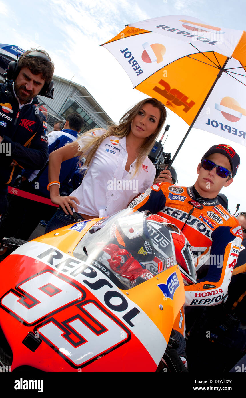 Mark Marquez waits on his Repsol Honda MotoGP bike on the Silverstone Stock Photo: 61411473 - Alamy
