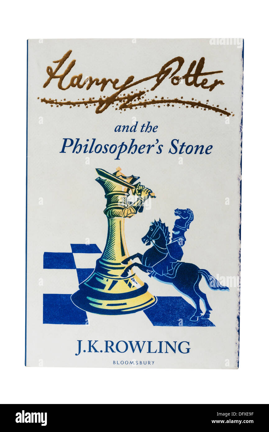 A J.K.Rowling childrens book called Harry Potter and the Philosopher's Stone on a white background - Stock Image