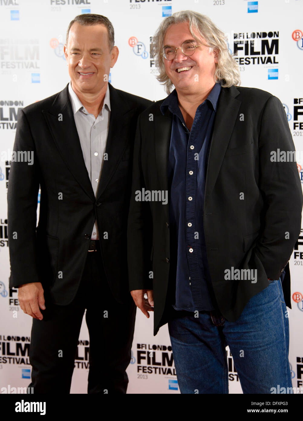 U.S actor Tom Hanks and British director Paul Greengrass arrive for the BFI London Film Festival Captain Phillips - Stock Image