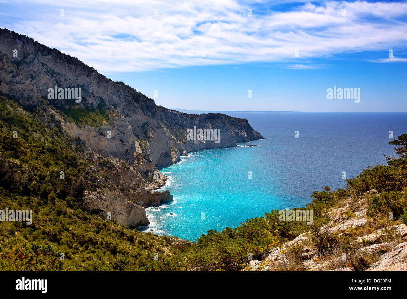 Ibiza Cap Llentrisca cape view from Sa Pedrera in Balearic Islands spain Stock Photo