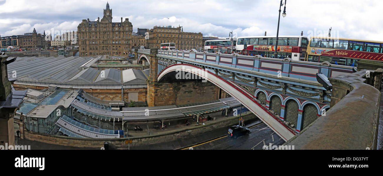 North,Bridge,pano,wide,shot,looking,across,city,town,from,the,south,bus,buses,Lothian,Lothien,Waverley,railway,station,unusual,view,vista,from,the,Scotsman,hotel,over,to,Balmoral,capital,city,tourist,destination,Gotonysmith,linking,the,High,Street,with,Princes,Street,and,the,New,Town,with,the,Old,Buy Pictures of,Buy Images Of