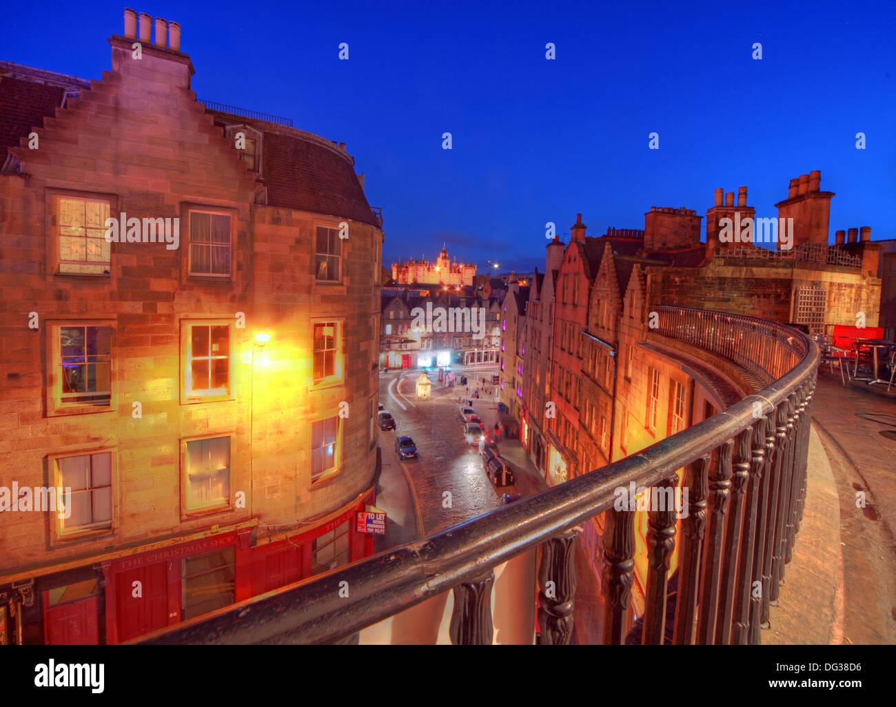 Victoria,Street,Edinburgh,City,Scotland,UK,at,dusk,Night,Shot,Victoria,St,West Bow,world,heritage,site,Old,Town,Lothian,Lothians,EH1,2JW,EH12JW,st,blue,sky,west,bow,westbow,mixed,lighting,history,historic,building,buildings,architecture,at,night,nightshot,Gotonysmith,st.,tourist,tourism,trail,walk,walkways,around,tour,tours,railing,railings,iron,metal,victorian,old,fashioned,oldfashioned,classic,haunted,haunting,Edinburg,Ediburgh,Buy Pictures of,Buy Images Of,Scotlands History,Scotlands History