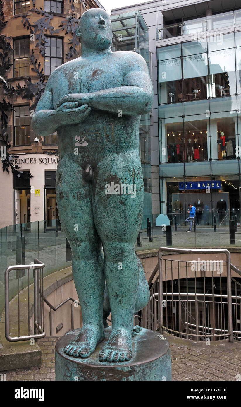 sq,sq.,centre,center,green,bronze,naked,man,Statue,outside,Princes,Square,shopping,Mall,48,Buchanan,Street,in,central,Glasgow,Scotland,UK,G1,3JN,As,proud,As,art,artist,work,works,full,length,gotonysmith