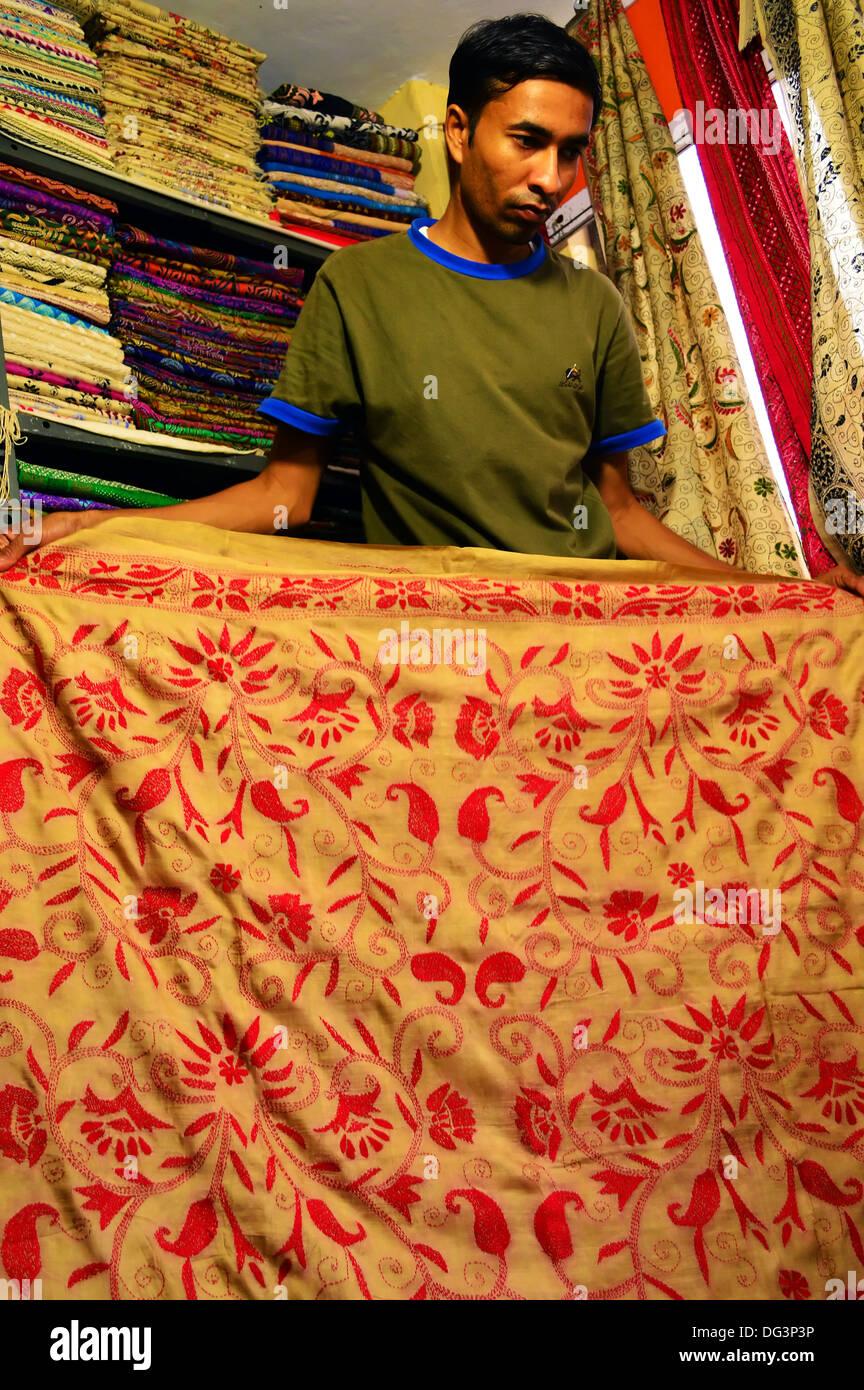 Saree, Kaantha Stitch, Handloom, Handwork, Tussar Silk, Silk Saree, Saree Shop, Bengali, Indian - Stock Image