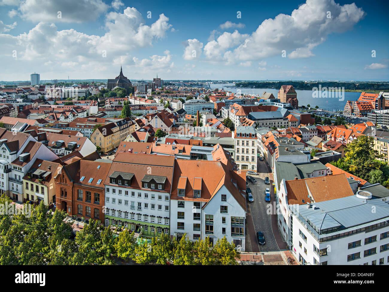 Rostock, Germany city skyline. - Stock Image