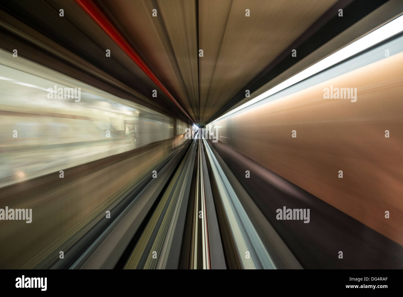 Motion blur in a moving tram - Stock Image