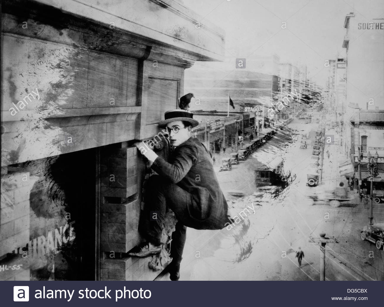 Harold Lloyd, On-Set of the Film, Safety Last!, 1923 - Stock Image