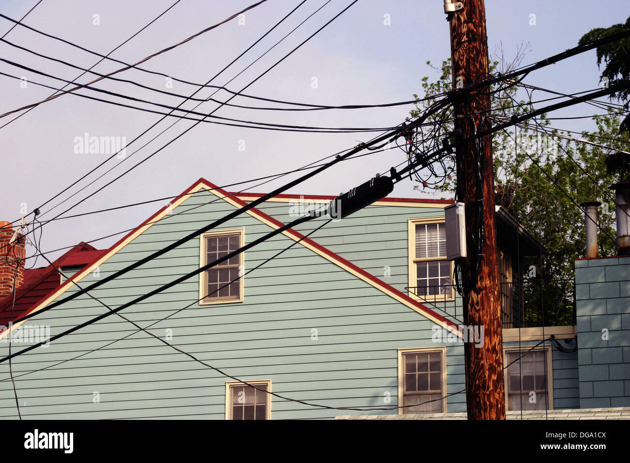 home and old telephone wires annapolis maryland usa stock photo rh alamy com Old Wiring in Homes Old Wiring in Homes