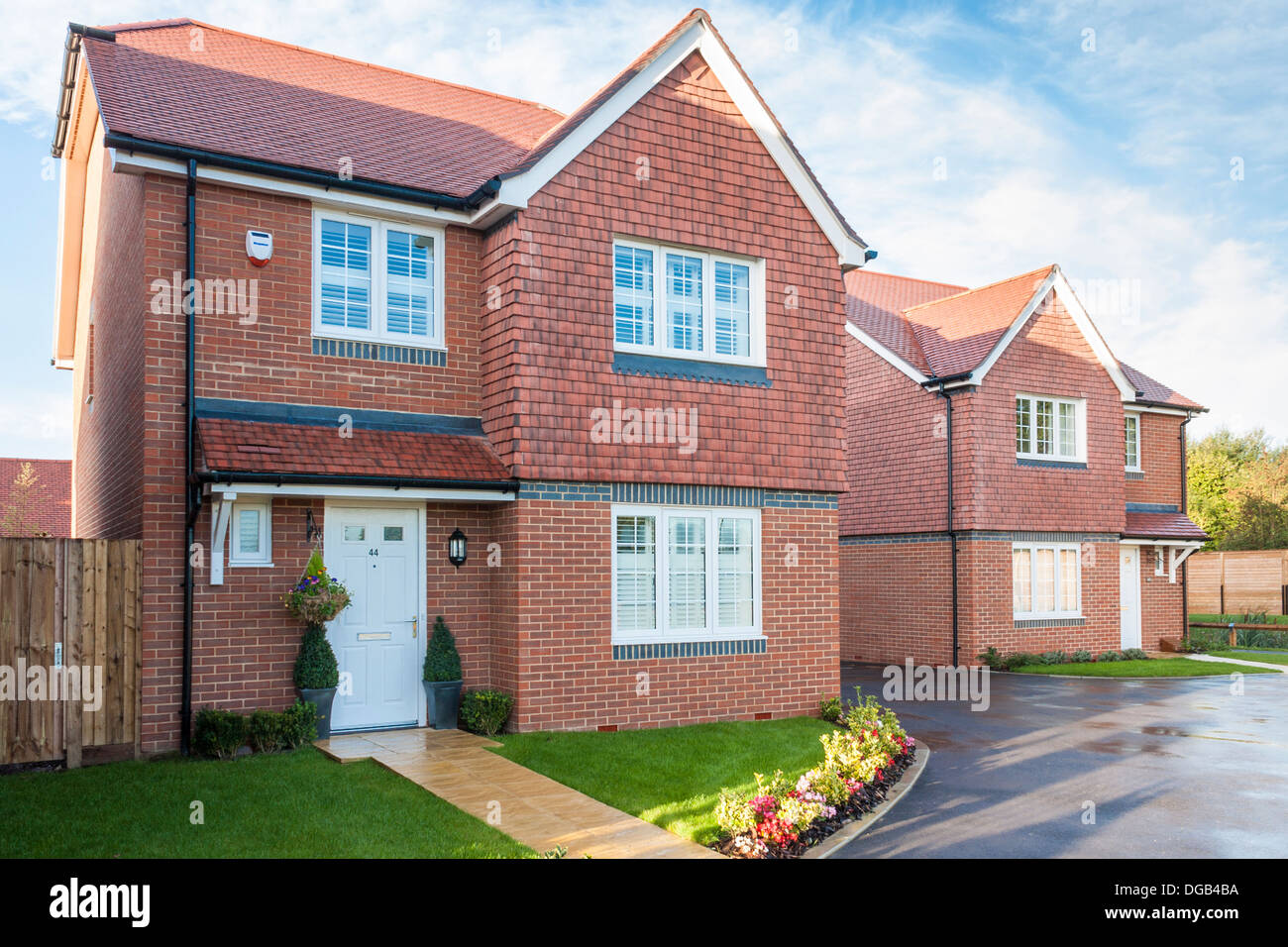 New house build housing estate in 2013. Reading, Berkshire, South East England, GB, UK. Stock Photo
