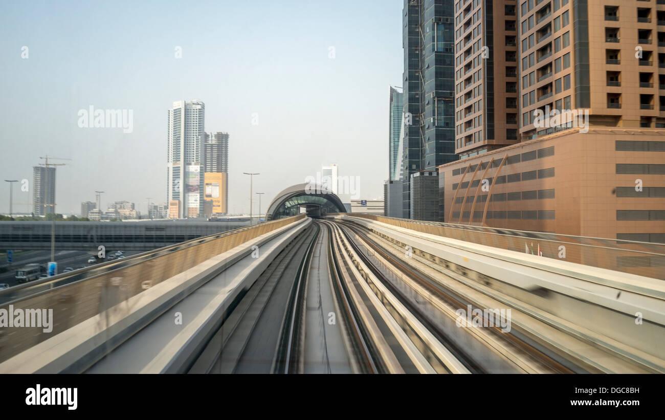 Metro track to downtown Dubai, United Arab Emirates - Stock Image