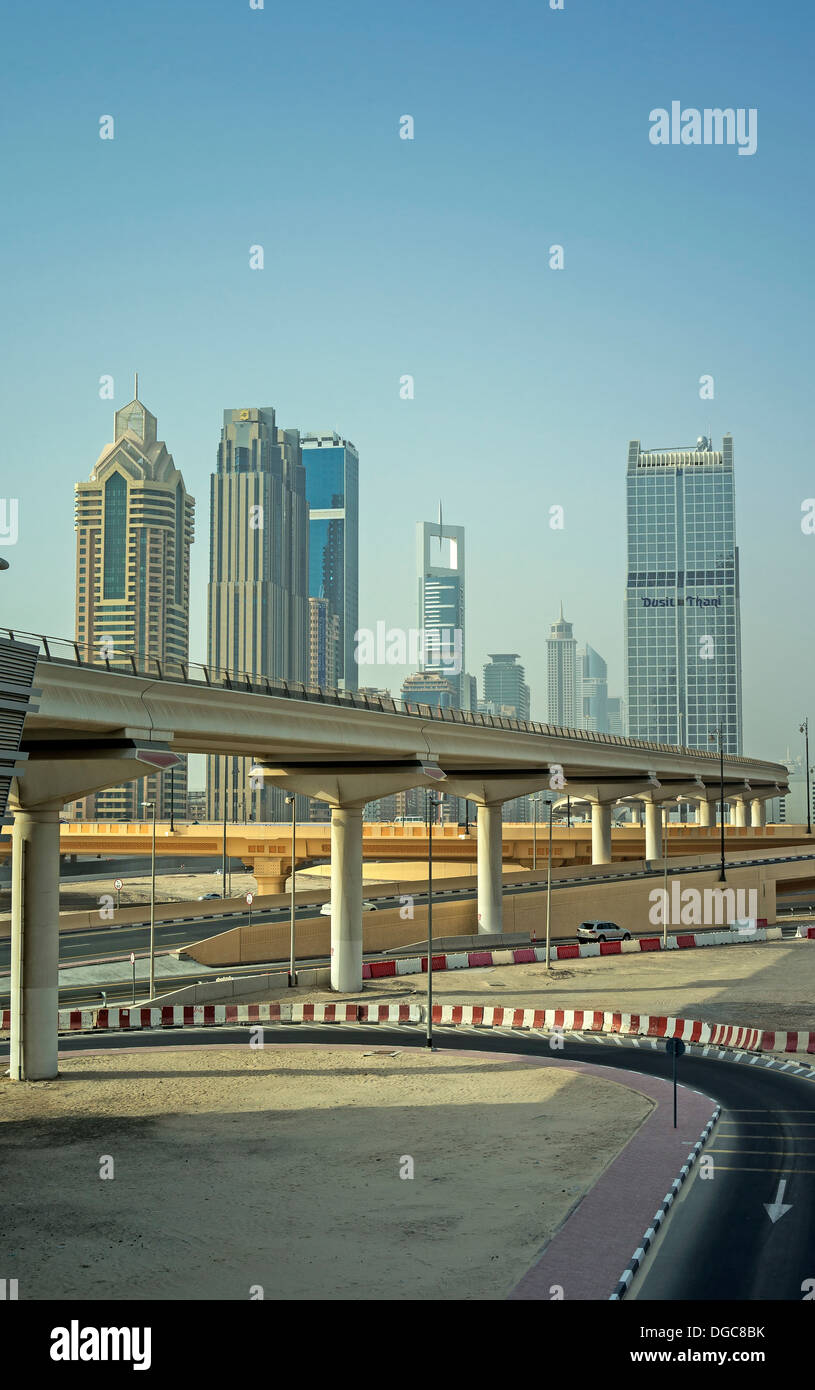 Elevated railway track to downtown Dubai, United Arab Emirates - Stock Image