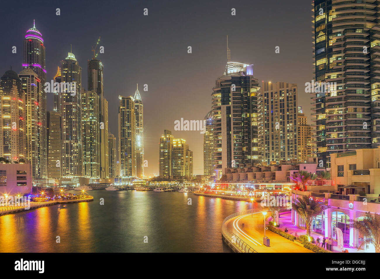 Skyscrapers in Dubai marina, Dubai, United Arab Emirates - Stock Image