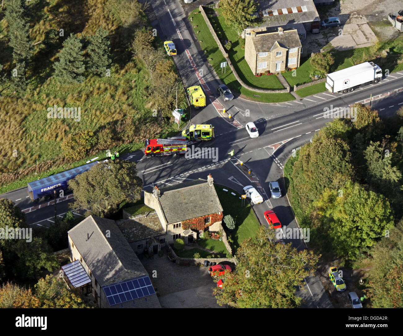aerial view of the aftermath of a car accident at an accident blackspot in North Yorkshire, UK - Stock Image