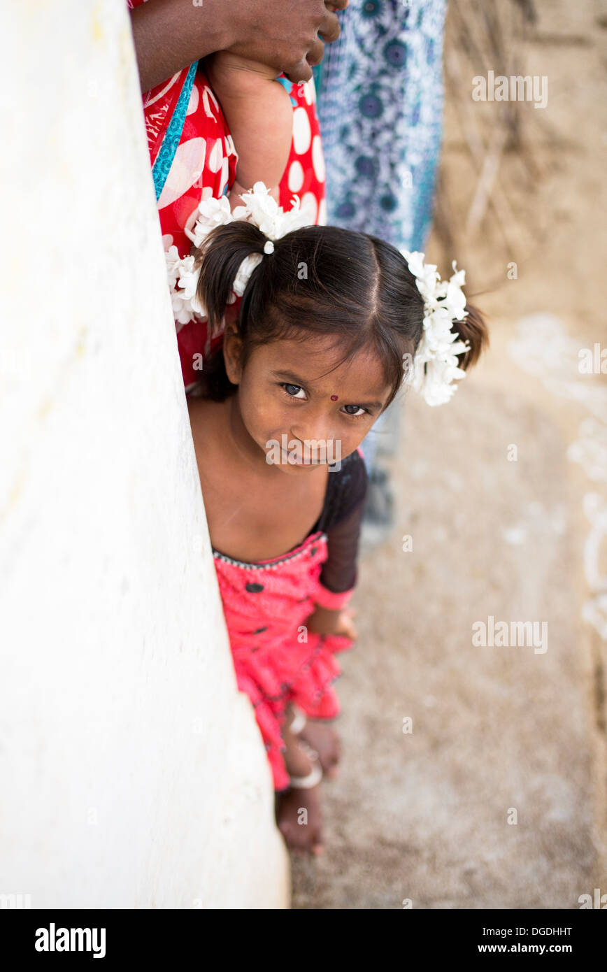 Happy young rural Indian village girl. Andhra Pradesh, India - Stock Image