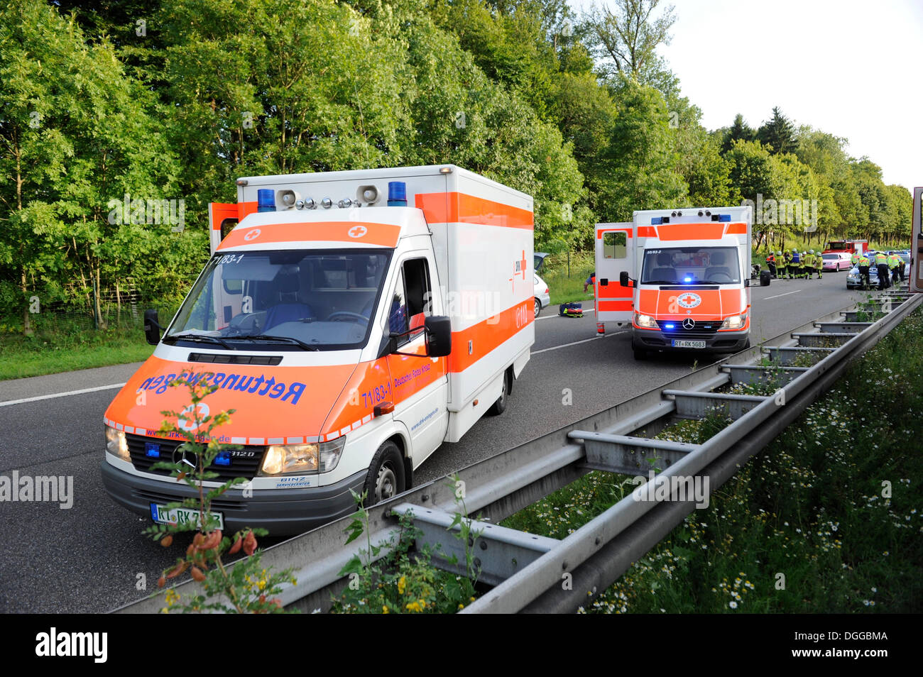 Ambulance after a traffic accident with two cars and several injured people, B27, driving direction of Stuttgart, between - Stock Image