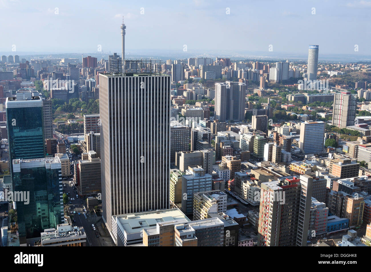 View over Johannesburg from the terrace of the Carlton Centre, with a height of 220m the highest skyscraper in Africa - Stock Image