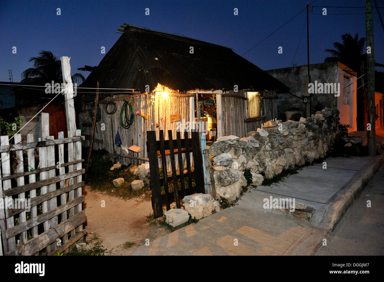 Humble cottage on the outskirts of Cancun owned by people working in the tourism industry, Cancun, Yucatan Peninsula - Stock Image
