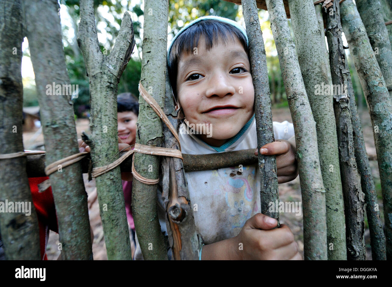 Cheeky boy, 6, looking through a gap in a fence, in the community of Mbya-Guarani Indians, Campito, Caaguazú - Stock Image