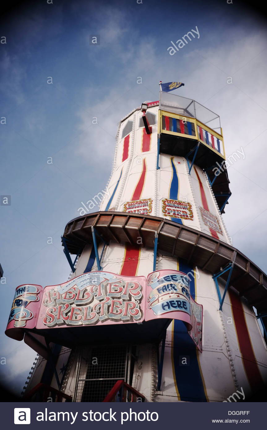A helter skelter on Brighton Pier, West Sussex, UK. Stock Photo