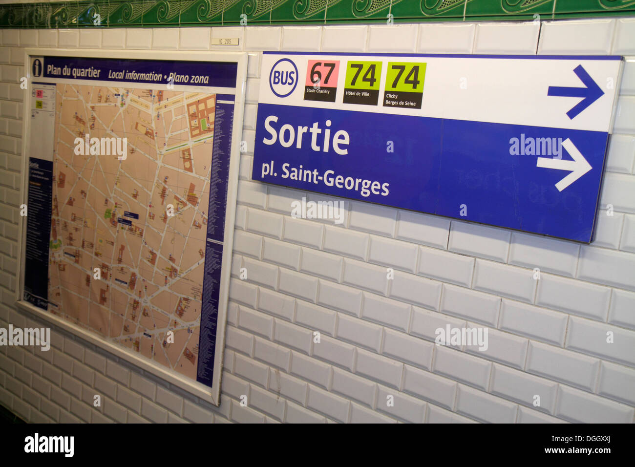 Paris France Europe French Saint St Georges Metro Station Subway - Paris street map with metro stations